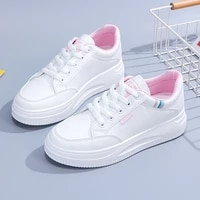 fall fashion comfortable womens vulcanized shoes lace up flat white light sneakers wear resistant platform casual sports shoes