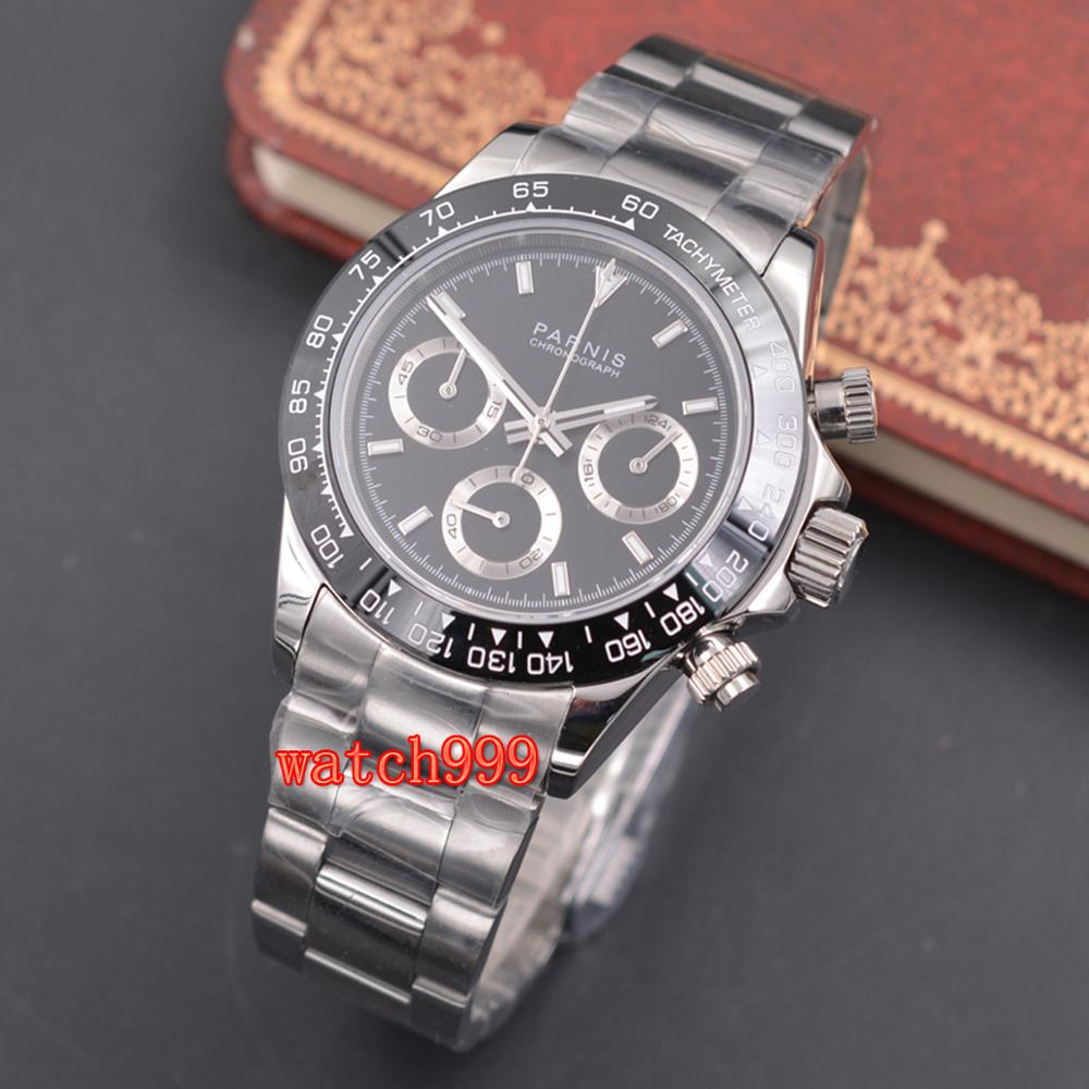 Parnis 39mm relógio casual luminoso masculino cronógrafo completo safira cristal mostrador preto pulseira de aço brilhante