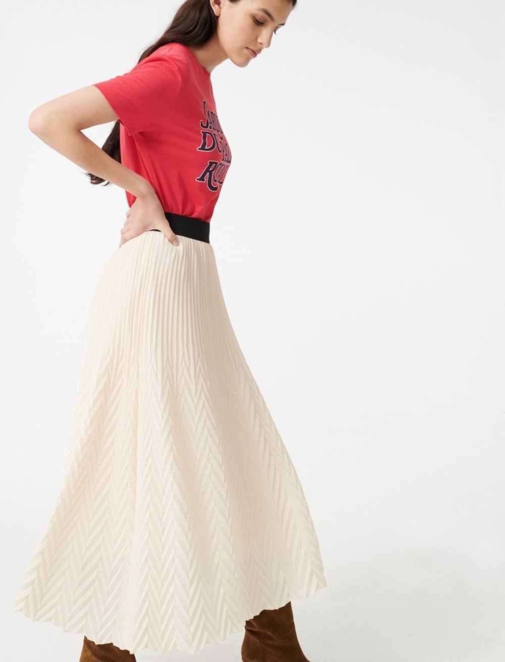 2020 Spring Summer Temperament Lady Elastic Waist Long Skirt Herringbone Pattern Wave Pattern Womens Pleated Skirt White Solid