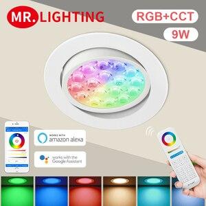 Smart LED Light Miboxer 9W RGB + CCT LED Downlight FUT068 Round AC 100V-240V WiFi Control Brightness Dimmable Angle Adjustable