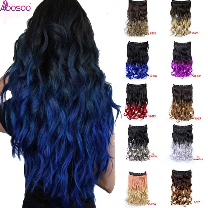 Horquillas de pelo sintético de alta temperatura para extensiones de cabello de color azul púrpura negro ondulado largo para mujer