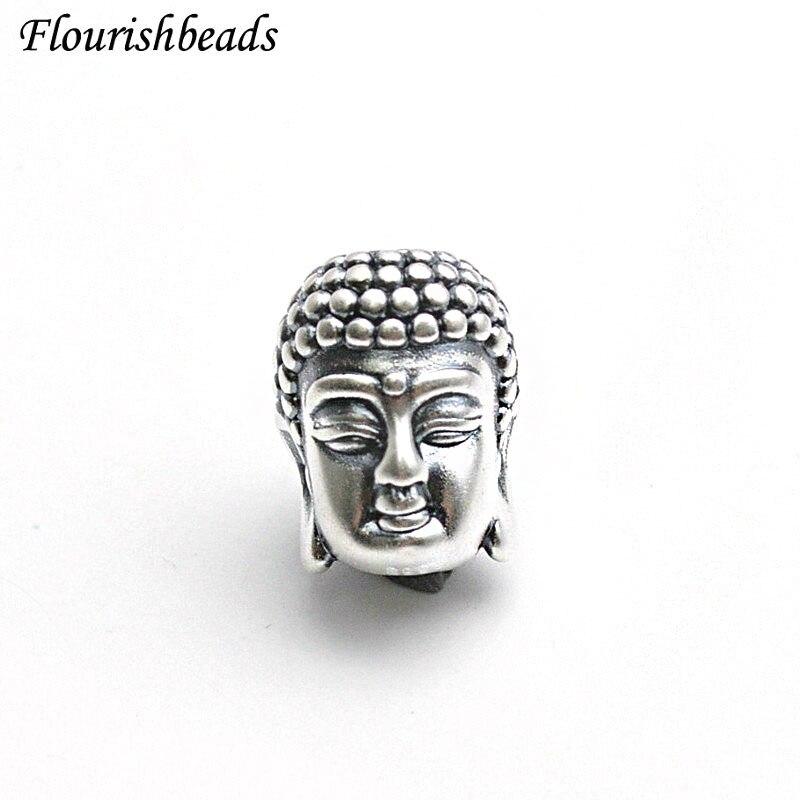 5 قطعة ريال S999 الفضة 15 مللي متر قوانيين بوذا رئيس شكل المعادن فضفاض الخرز السحر البوذية Jewery صنع لوازم