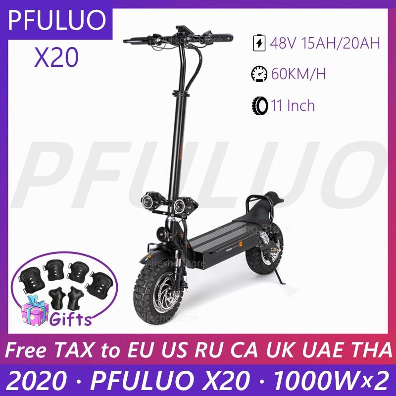 2020 PFULUO X20 Dual Off-road Scooter 2000W Motor Dual LCD de pantalla inteligente e scooter 2 rueda de skateboard de 60 km/h Velocidad máxima
