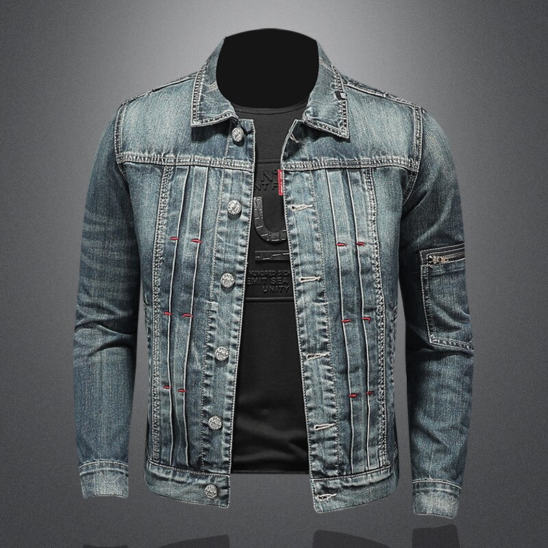 طية صدر السترة شخصية كم جيب الدنيم سترة الرجال دراجة نارية الدنيم معطف الرجعية قصيرة عادية الصلبة واحدة الصدر