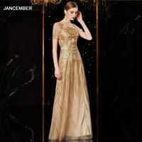 j1938 jancember evening dresses o neck short sleeve sequin appliques dress for wedding party in evening dresses abiye elbise