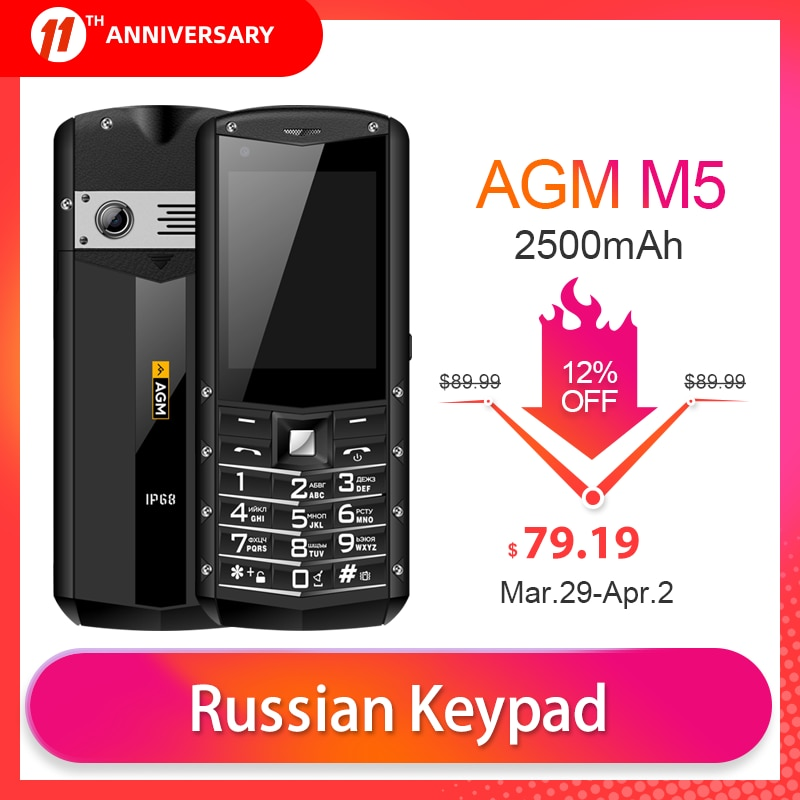 Russian Keypad AGM M5 Simplified Android OS 4G LTE Type C Touch Screen IP68 Waterproof Rugged Featured Mobile Phone 2.8 Inch