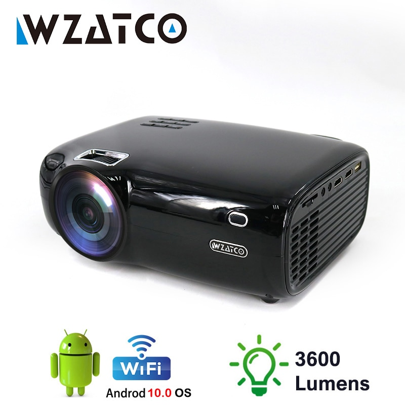 WZATCO-Proyector LED E600, compatible con AC3, 1080p, 4K, vídeo 3D, Android, wi-fi,...