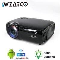 WZATCO E600 projecteur LED prise en charge AC3 1080p 4K 3D video Android sans fil Wifi intelligent Portable HD I Home cinema projecteur