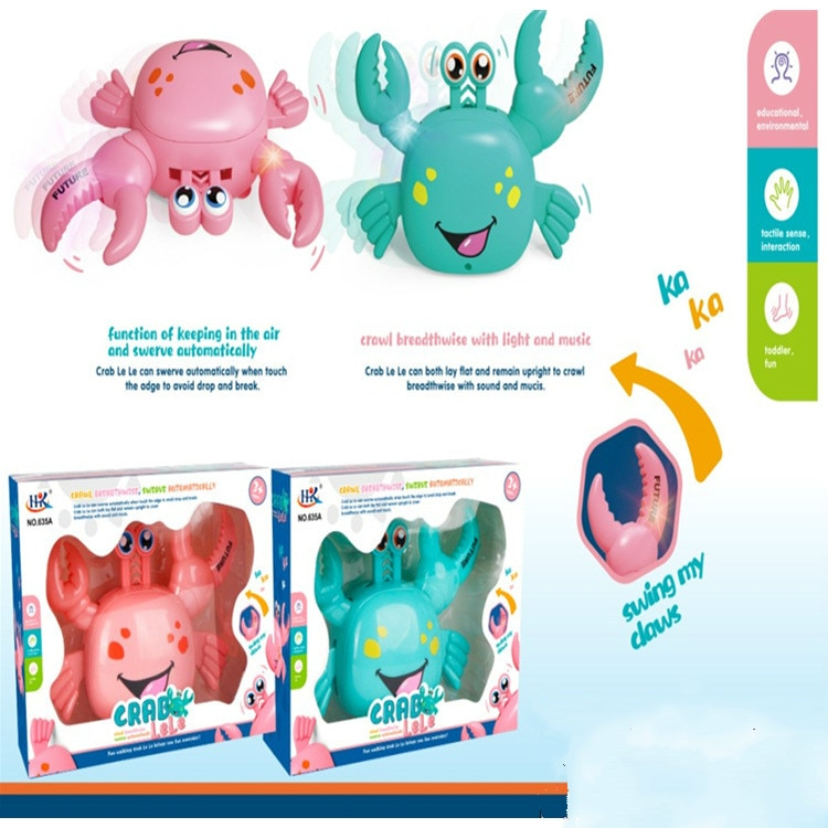 Universal eléctrico pequeño cangrejo agitación sonido caminar cruzado automático luz de giro música juguetes para niños