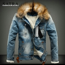 SATRA 2021 Autumn winter Classic Thick Warm Slim Jeans Jacket Men, Trend FurHooded Outerwear Thicken