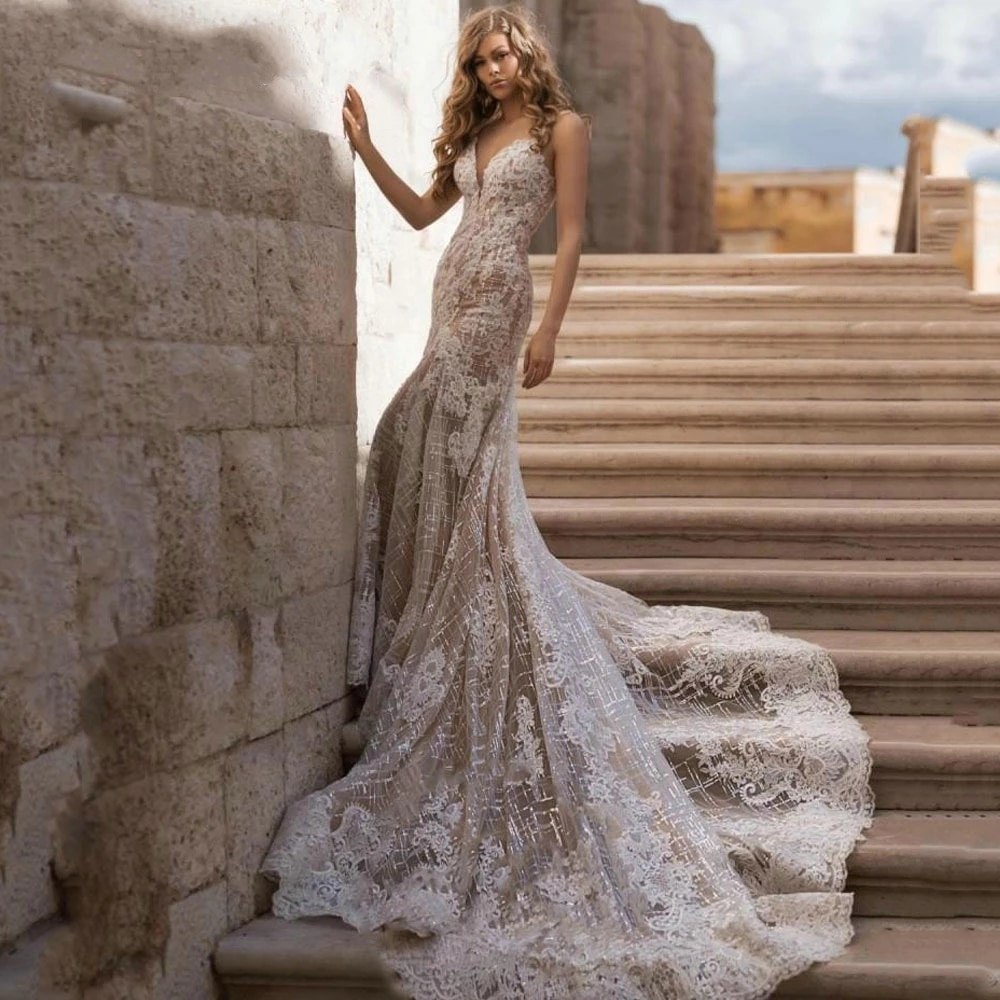 Vintage Vestido De Casamento White Mermaid Wedding Dresses Plus Size Lace Appliques Crystal Beading Bridal Wedding Gowns