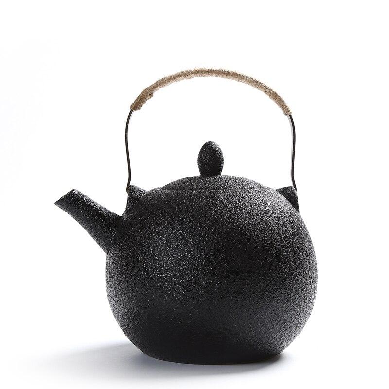 2000 مللي سعة كبيرة أسود كروكري إبريق شاي من السيراميك مع مرشحات الفولاذ المقاوم للصدأ القهوة أطقم شاي إبريق شاي بورسلين