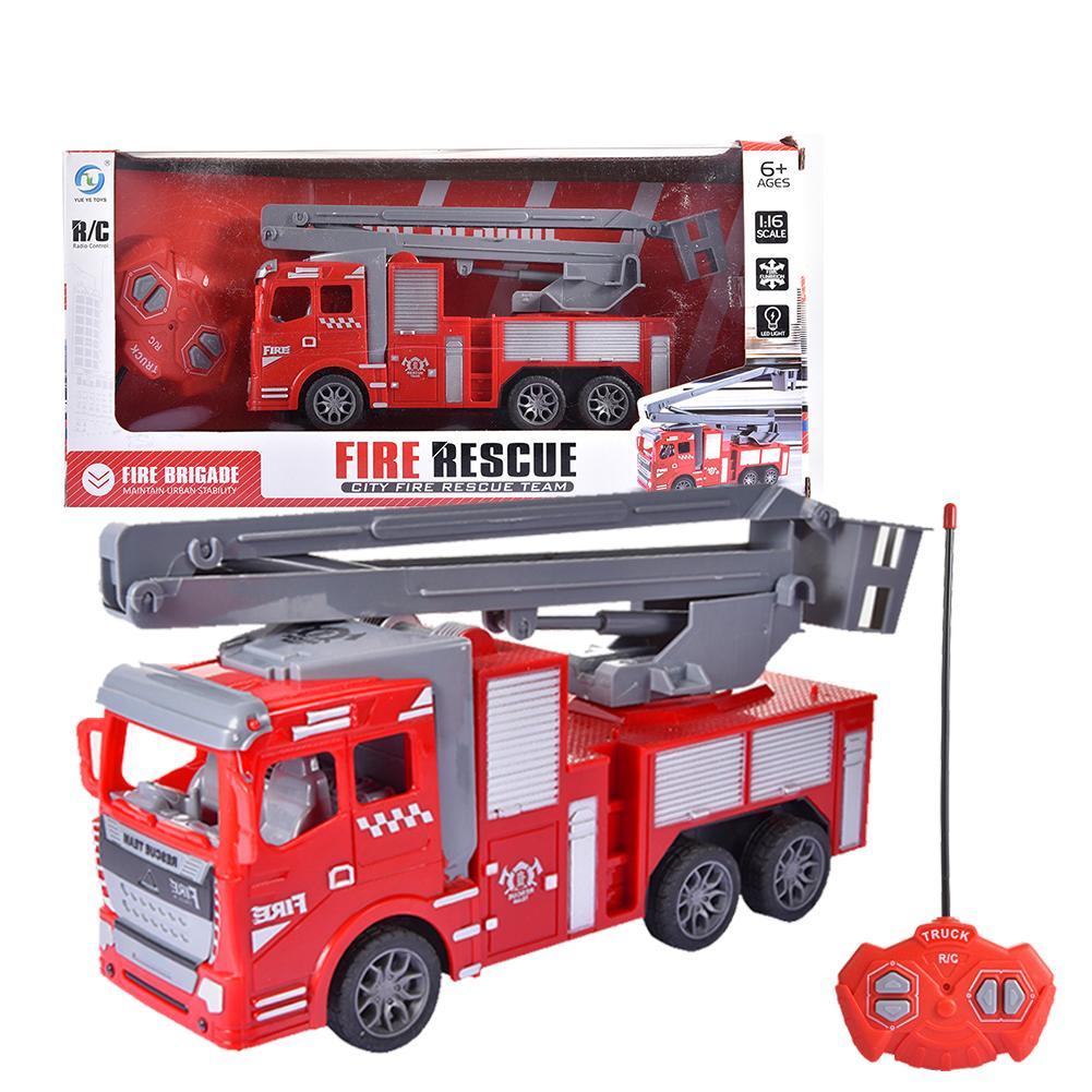 Camion de pompier télécommandé 4 canaux télécommande échelle manuelle pompier jouet voitures véhicules avec des lumières pour garçons filles enfants