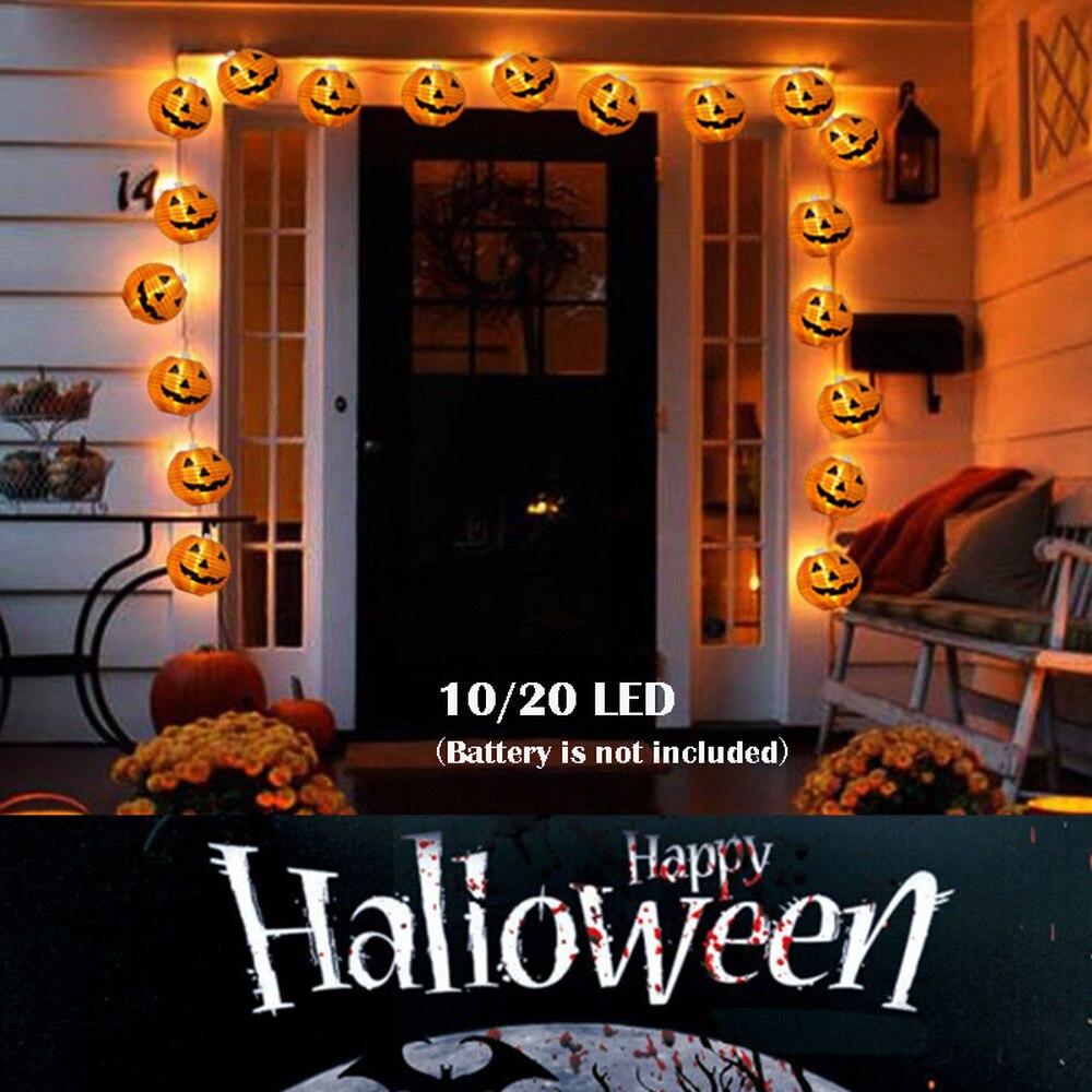 10/20 led luzes da corda decoração de halloween led papel abóbora luz pendurado lanterna festa ao ar livre festival decoração adereços