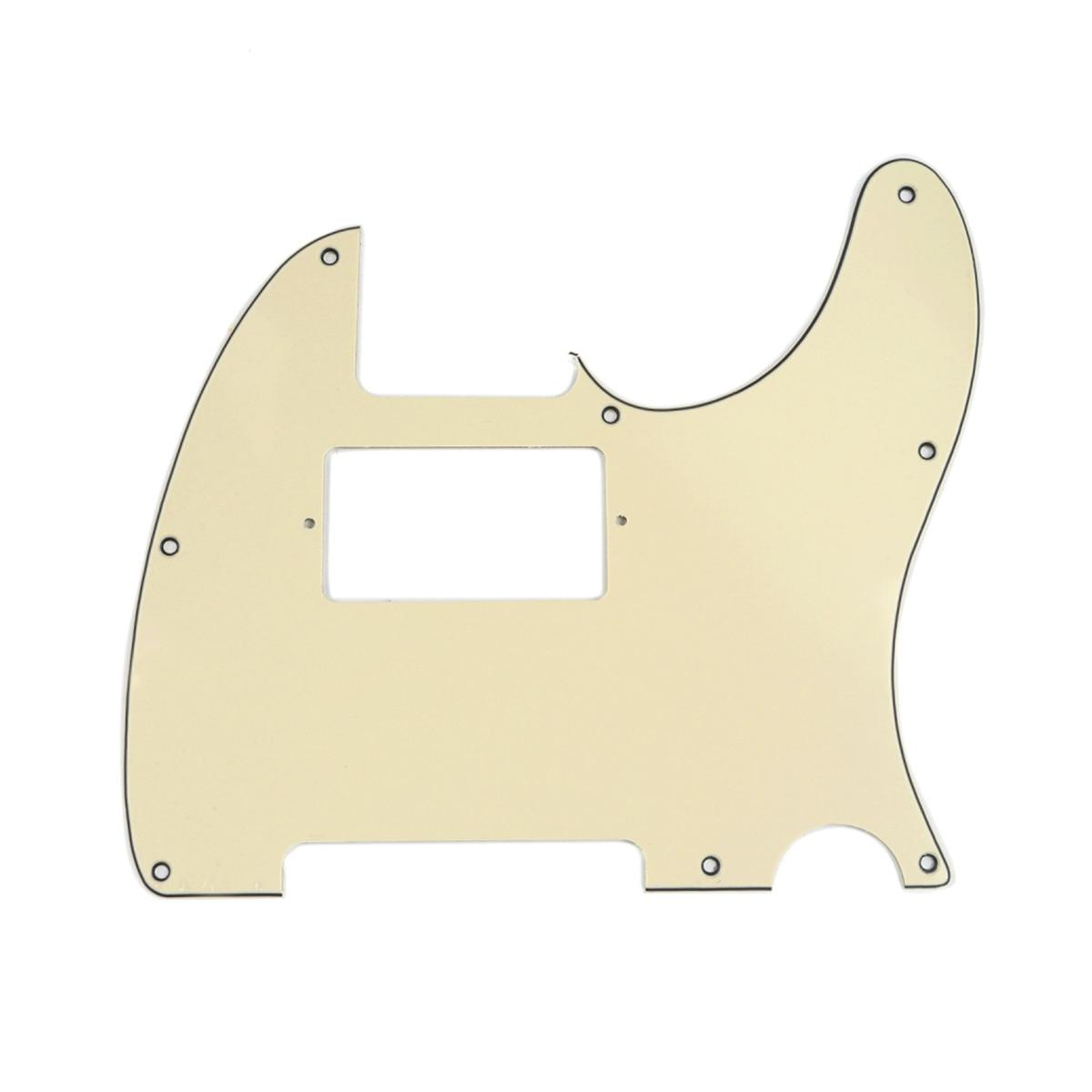 Musiclily 8 buraco guitarra tele pickguard humbucker hh para eua/mexicano feito fender padrão telecaster estilo, 3ply creme