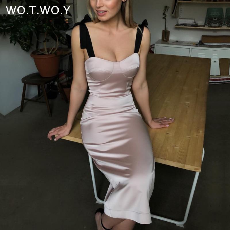 WOTWOY Vintage Bodycon lápiz vestido mujeres Spaghetti Strap Sexy Shealth Vestidos Mujer verano sólido Slash Neck Vestidos mujeres 2020