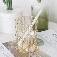 2Colors Creative Iron Art Nordic Makeup Storage Box Cylindrical Case Lipstick Brush Pen Holder Cosmetic Organizer Basket Decor