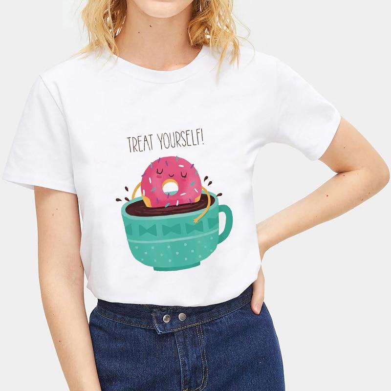 Lichia Ocasional Bloco de Cor Tripulação Pescoço Das Mulheres T-shirt Impressão Rosquinha Soltas Camisas Das Mulheres T de Verão de Manga Curta Senhora T Camisa