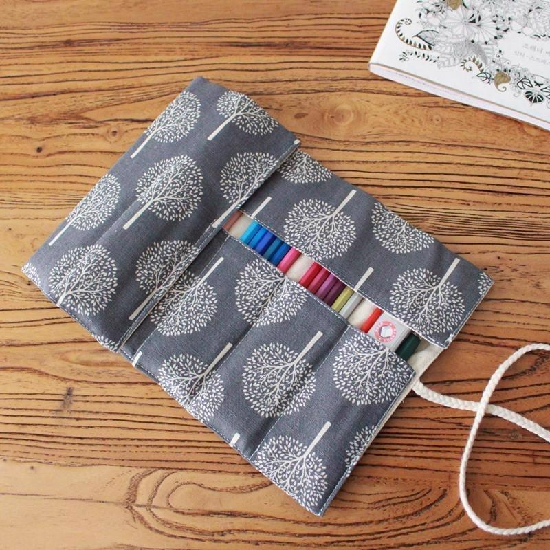 36/48/72 agujeros de la escuela estuche de rollo para lápices abandonada gran Penal lindo Kawaii coreano ranura del árbol bolsa de papelería Kit de suministros Pouc