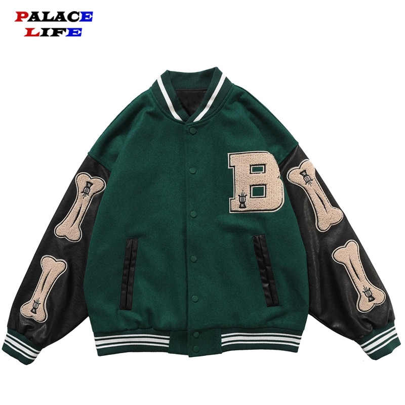 Hip Hop Furry Bone Patchwork Color Block Jackets Mens Harajuku College Style Bomber Jacket Men Baseball Coats 3 color