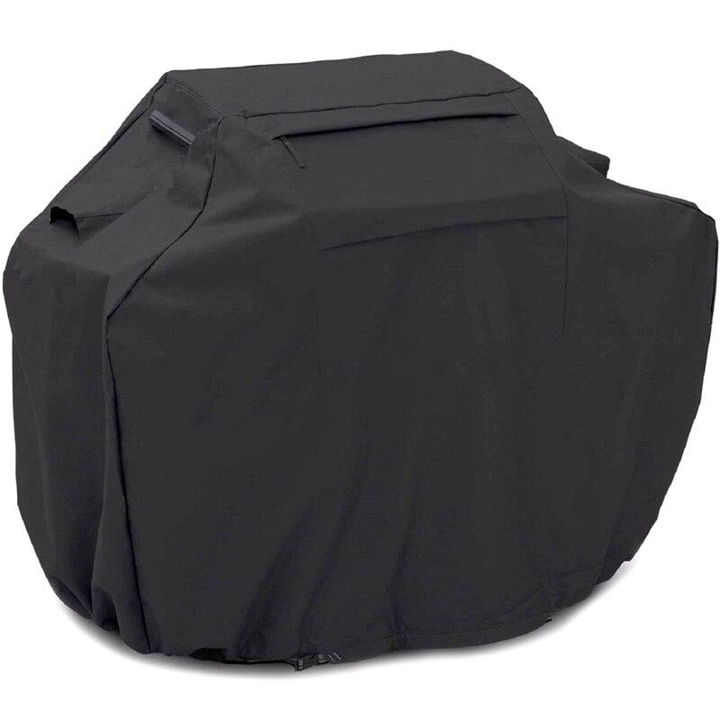 210d oxford pano chuva preto churrasqueira gás grill capa pesada à prova dwaterproof água churrasco gás grill capa ao ar livre anti-desvanecimento tempo prot