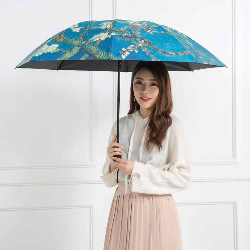 Folding Windproof umbrella Van Gogh Oil Painting Umbrella Sun Female Outdoor Protection