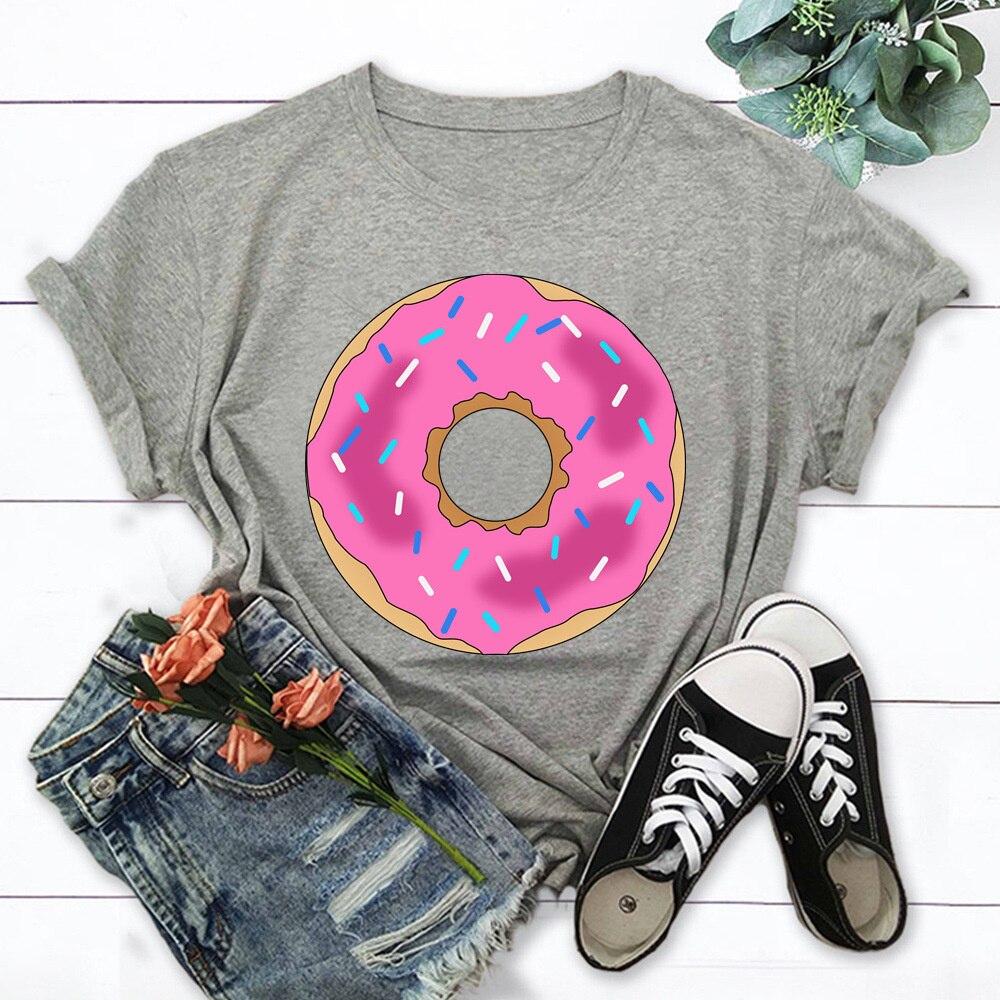 Модные летние топы с пончиком, футболка для женщин, новая футболка, футболка с графическим рисунком, женская футболка, футболка TX8334