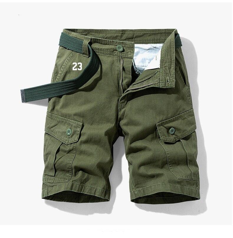 Шорты мужские на молнии, летние короткие штаны-карго, уличные тактические штаны в стиле милитари, однотонные хаки с несколькими карманами, ...