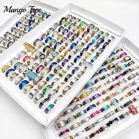 50pcs lot mix style fashion stainless steel rings titanium band for men and women wedding jewelry valentines day couple ring