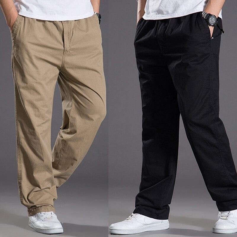 Брюки-карго мужские повседневные, хлопковые свободные штаны, верхняя одежда, прямые Слаксы, длинные брюки в стиле хип-хоп, модель 6XL