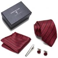 top grade many color 7 5 cm luxury 100 silk tie hanky pocket squares cufflink set tie clip necktie box male fathers day