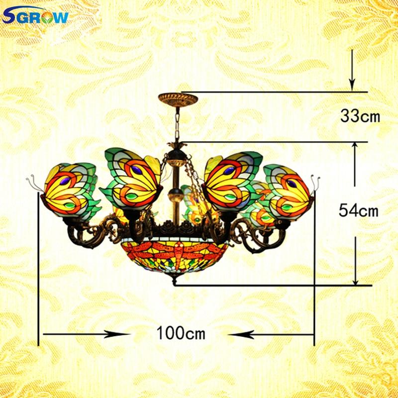 SGROW Tiffany lámpara colgante accesorios de iluminación interior hecho a mano lámpara...