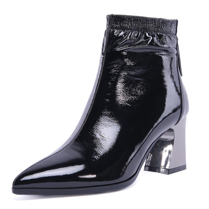 ¡Novedad del 2019! Botines de piel auténtica de invierno para mujer, botines de marca de 7cm de tacón alto con punta cuadrada, diseño vintage, botas estilo gladiador Oxford