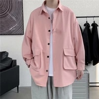 spring and autumn jacket mens korean style trendy high street loose clothes hong kong style handsome functional tooling shirt