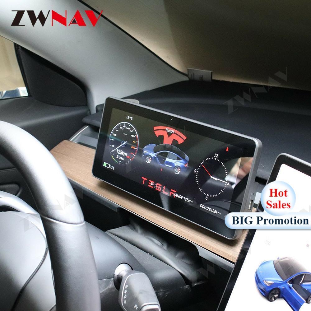 Android 9 Digital Dashboard Panel Virtual Instrument Cluster For Telsa Model 3 Universal Support GPS Navi IPS Center Speedometer