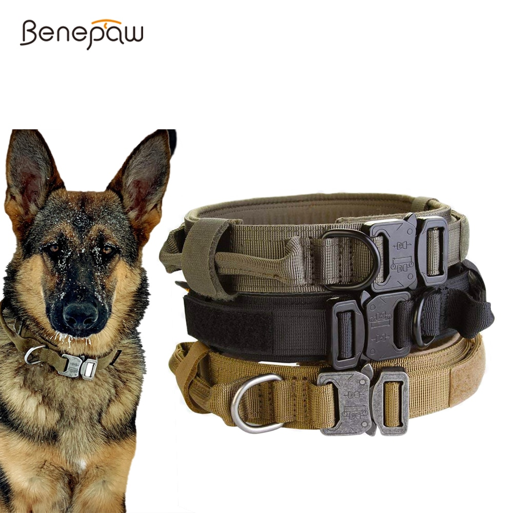 Benepaw Heavy Duty Tactical Dog Collar With Handle Durable Adjustable Pet Collar For Medium Large Dogs German Training Shepherd