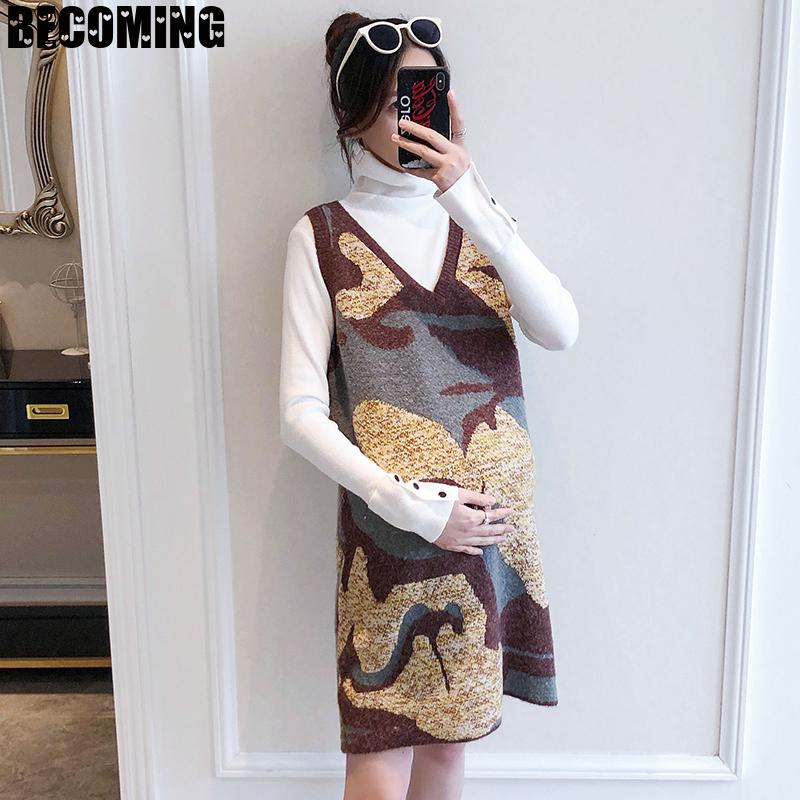 Women's Autumn And Winter Knitted Suit Fashionable High Collar Bottomed Sweater Vest Skirt  Pregnant Women1617694 enlarge