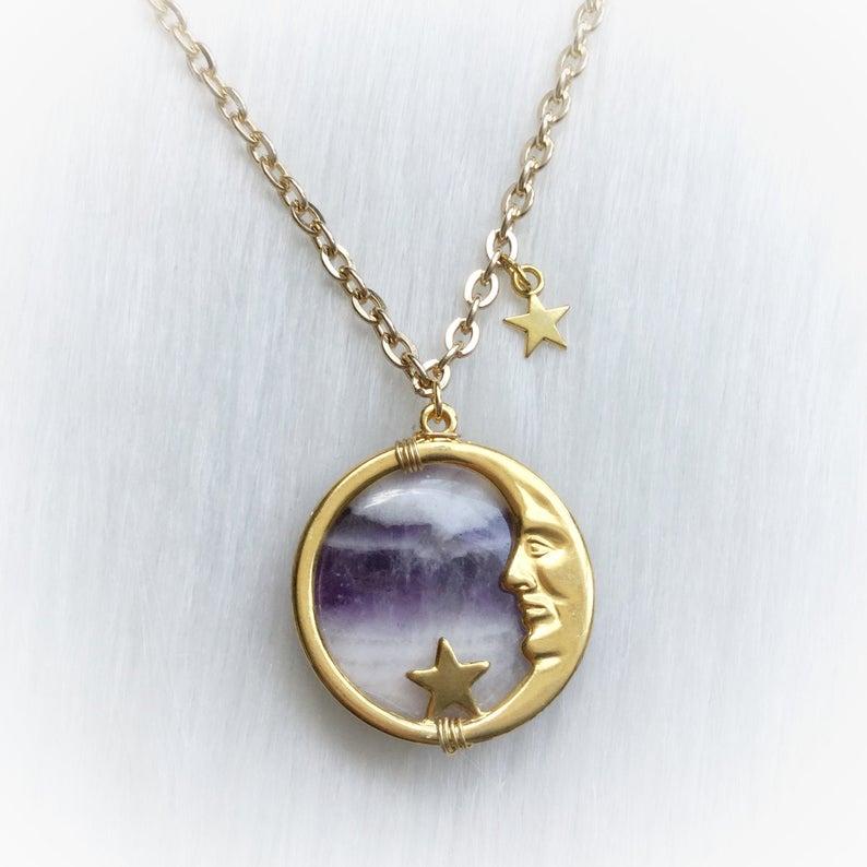 """Винтажное ожерелье с аметистом и лунным лицом, подвеска """"человек в Луне"""", Wicca, ведьма, языческая, цыганская, волшебная, небесная, колдовская, ожерелье, звезды"""