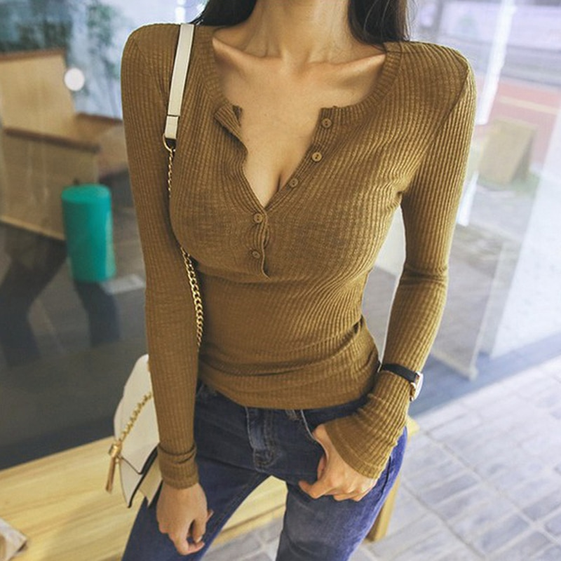 Blusas sexis de Otoño de manga larga para mujer 2020 camisa de manga larga de rosca de ajuste ajustado con botones para mujer Camiseta de manga larga para mujer