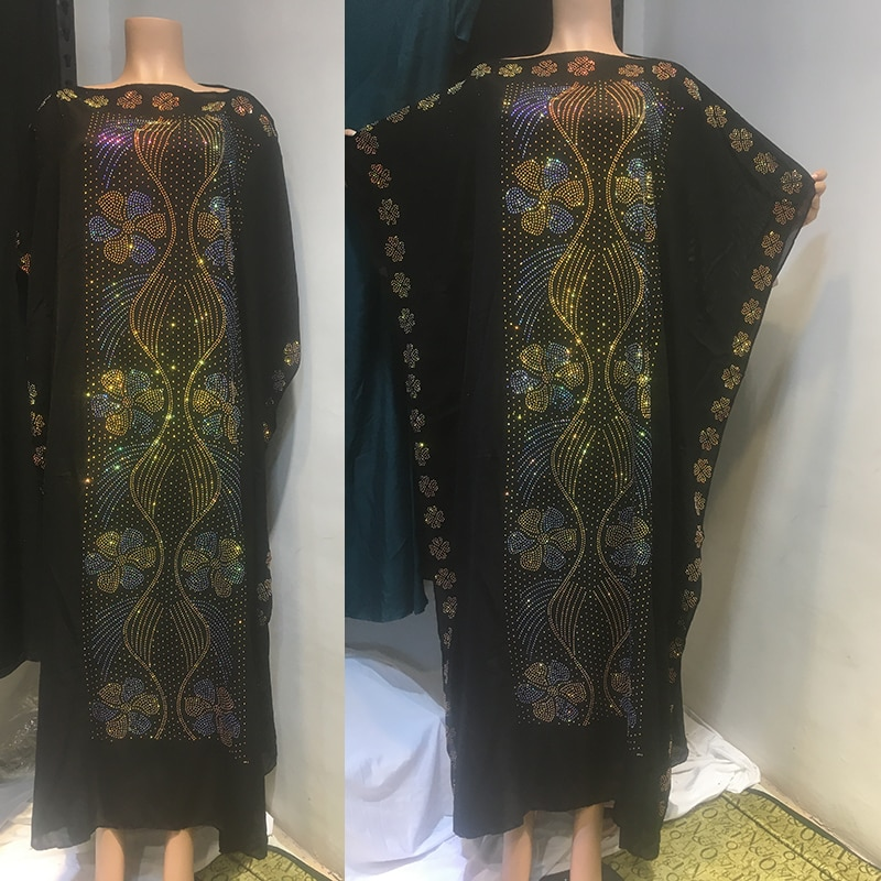 African Traditional Cultural Wear Kaftan Dresses Black Long Islam Clothes Diamond Inlay Jumpsuit Plus Size Cotton Robe For Women