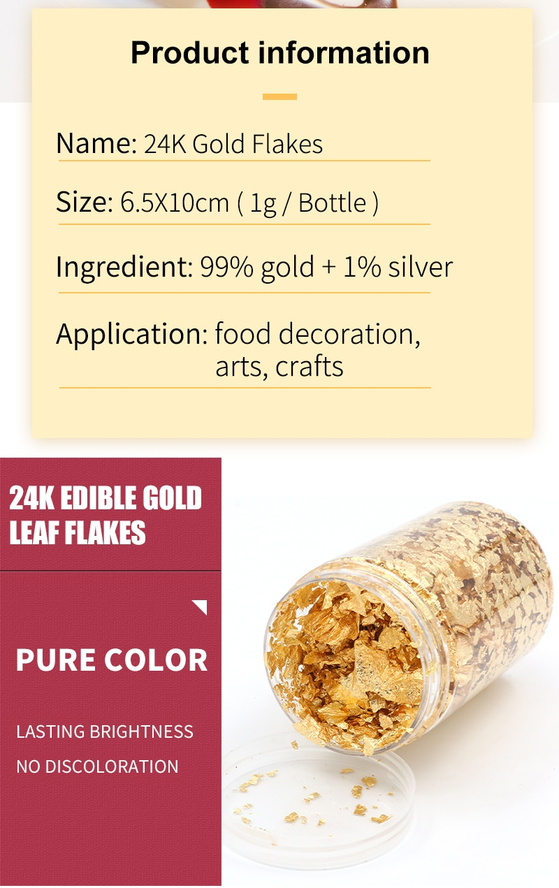 Copos De Oro Comestible De 24k Para Decoración Artística Artesanal Pigmento De Fondant Purpurina Comestible 1g Dish Caddies Mask Plasticdish Rack Drain Tray Aliexpress
