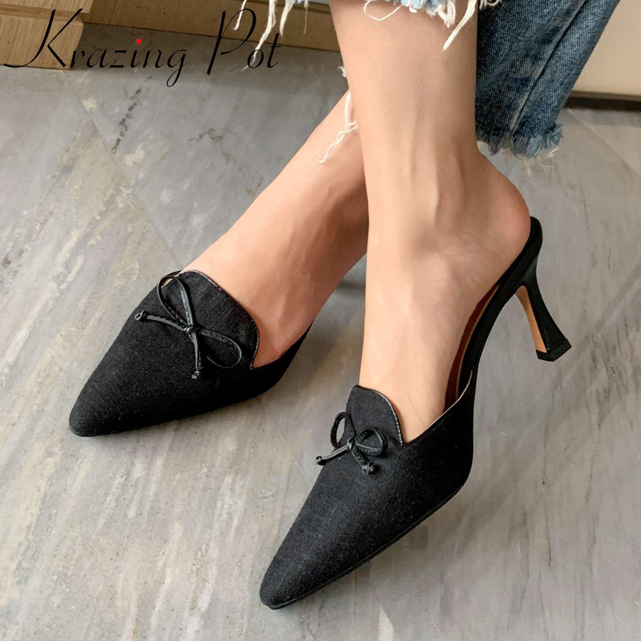 Krazing pot special cloth cozy women shoes pointed toe high heels slip on mules bowtie maiden Korean streetwear summer pumps L99