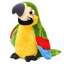 Juguete eléctrico de peluche con forma de loro que habla, bonito Registro de voz, repetidor de alas que ondean, juguete de peluche con forma de pájaro, regalo de cumpleaños para niños