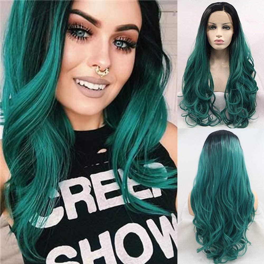 شعر مستعار أمامي من الدانتيل الصناعي للنساء ، لون أخضر مظلل ، مظهر طبيعي ، طويل ، جذور داكنة ، خط شعر طبيعي 24