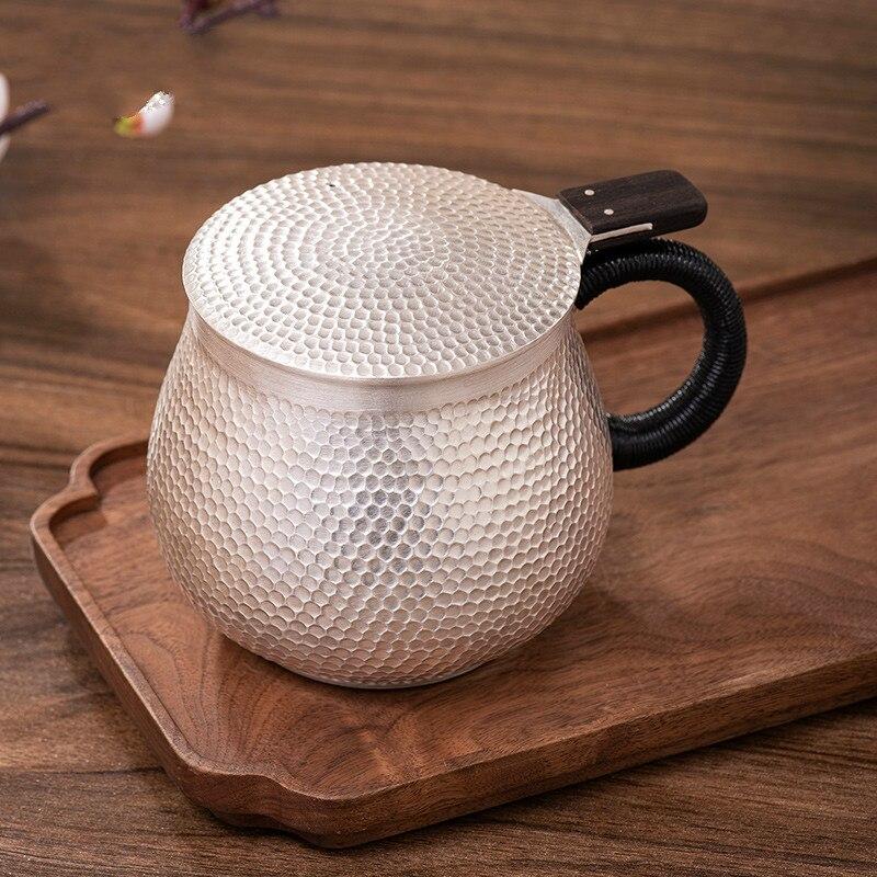 الفضة الاسترليني 999 الشاي القدح كوب كبير مطروق الفضة كوب ماء مع غطاء فنجان شاي اليدوية فنجان القهوة القدح