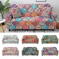 mandala printed slipcovers stretch plaid sofa covers for living room elastic couch cover sofa protector home decor 1234 seat