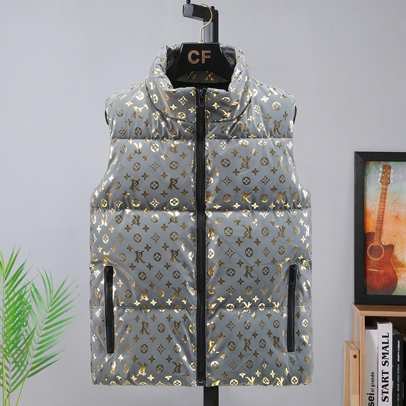 Мужская Роскошная модная повседневная куртка большого размера свободная куртка на молнии утепленная сохраняющая тепло хлопковая жилетка ...