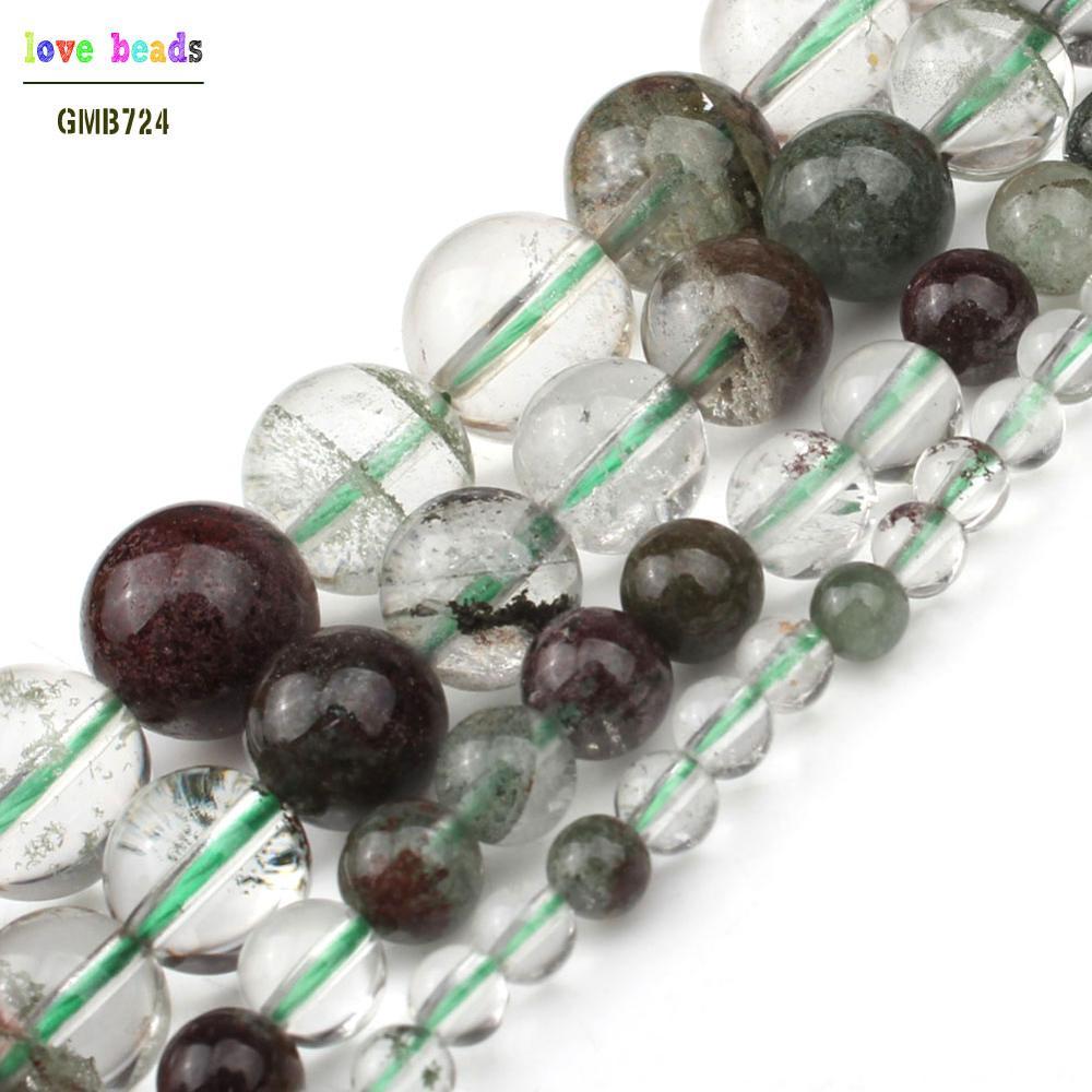 4/6/8/10mm AAA + cuentas espaciadoras sueltas de piedra de cuarzo fantasma verde Natural para joyería hacer artesanía Diy 7,5 Strand