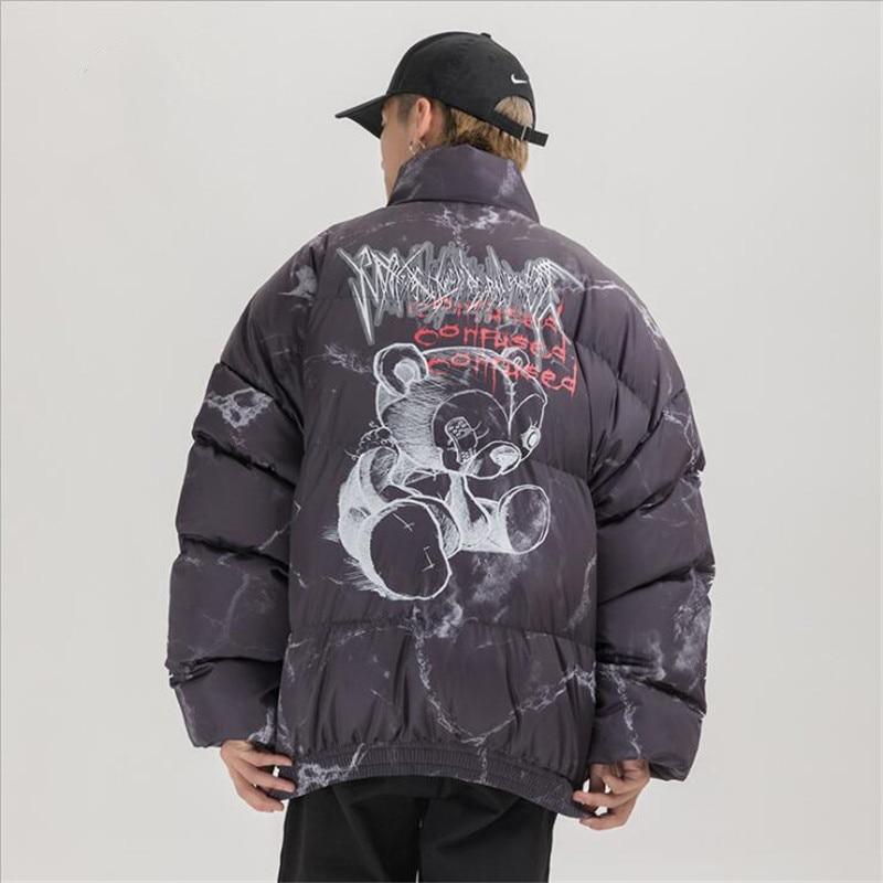 Hip Hop Jacket Parka Hurt Bear Print Men Winter Oversize Windbreaker Streetwear Harajuku Padded Jacket Coat Warm Outwear Hipster