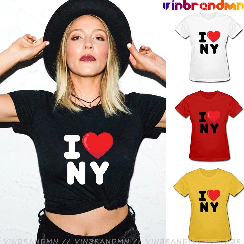 Camiseta con estampado de corazón I Love NY para mujer, Camiseta versátil...